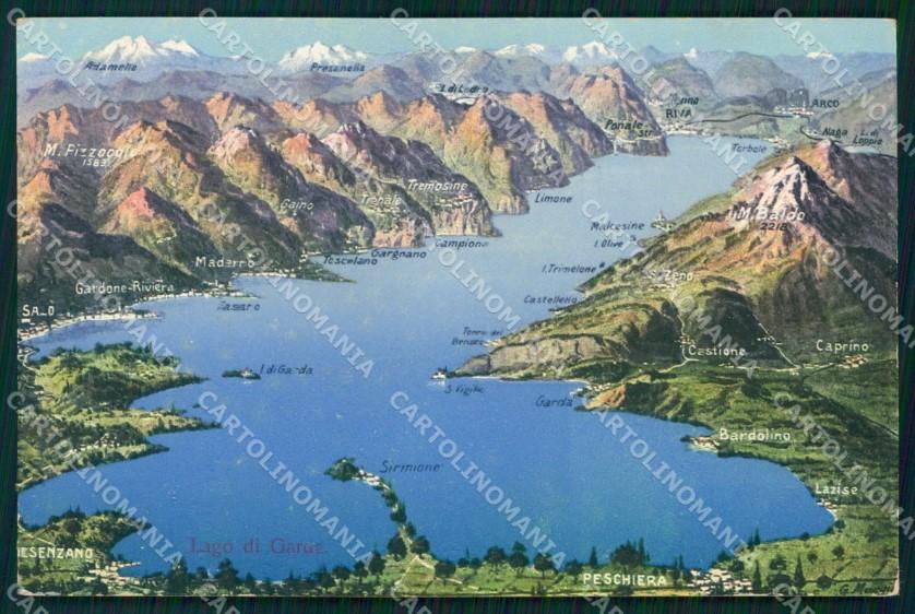 Cartina Stradale Lago Di Garda.Brescia Sirmione Lago Di Garda Cartina Geografica Mappe Cartolina Mx1525 Ebay