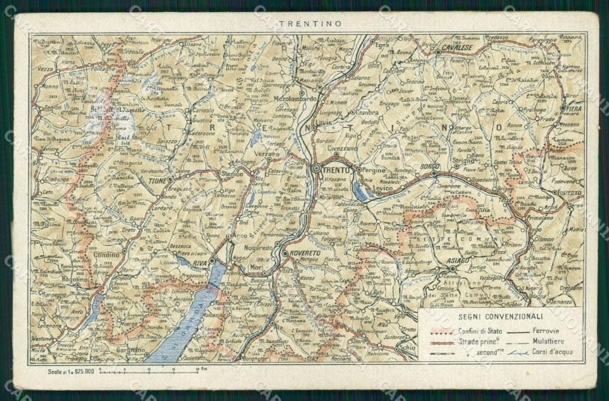 Cartina Geografica Trento.Trento Citta Cartina Geografica Mappa Cartolina Mx2903 Ebay
