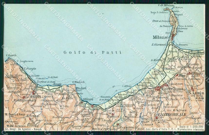 Sicilia Occidentale Cartina Stradale.Messina Milazzo Golfo Di Patti Cartina Geografica Cartolina Rb9185 Ebay