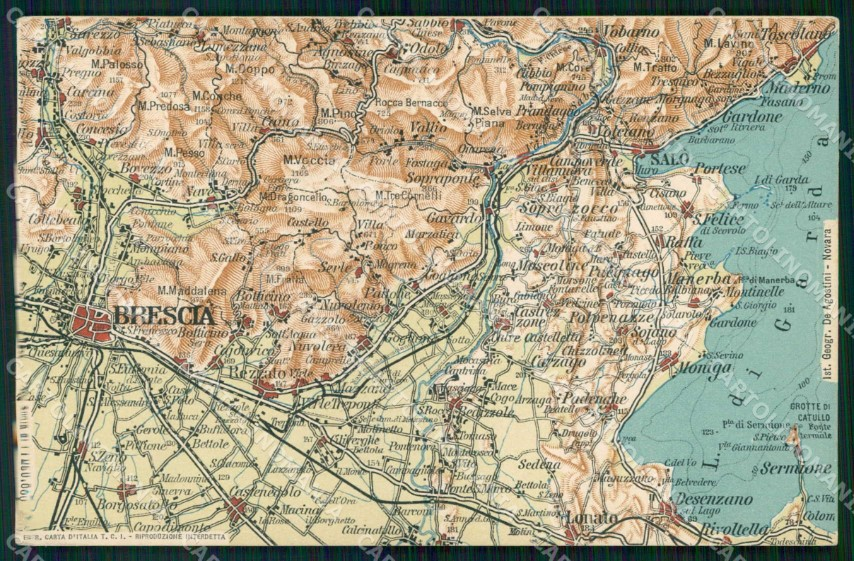 Cartina Topografica Lago Di Garda.Brescia Cartina Geografica Mappa 65 Lago Garda Desenzano Salo Cartolina Rt2477 Ebay