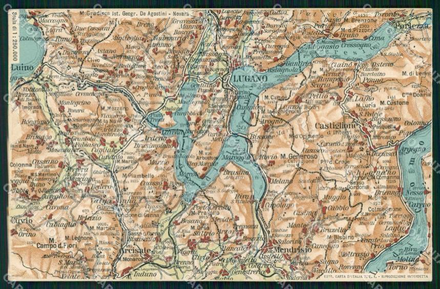 Cartina Lombardia Laghi.Varese Como Svizzera Cartina Geografica Mappa 55 Lago Di Lugano Cartolina Rt2479 Ebay