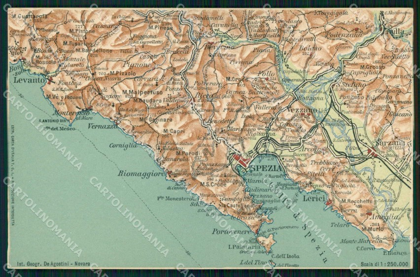 Cartina Italia La Spezia.La Spezia Cinque Terre Cartina Geografica Mappa 34cartolina Rt2490 Ebay