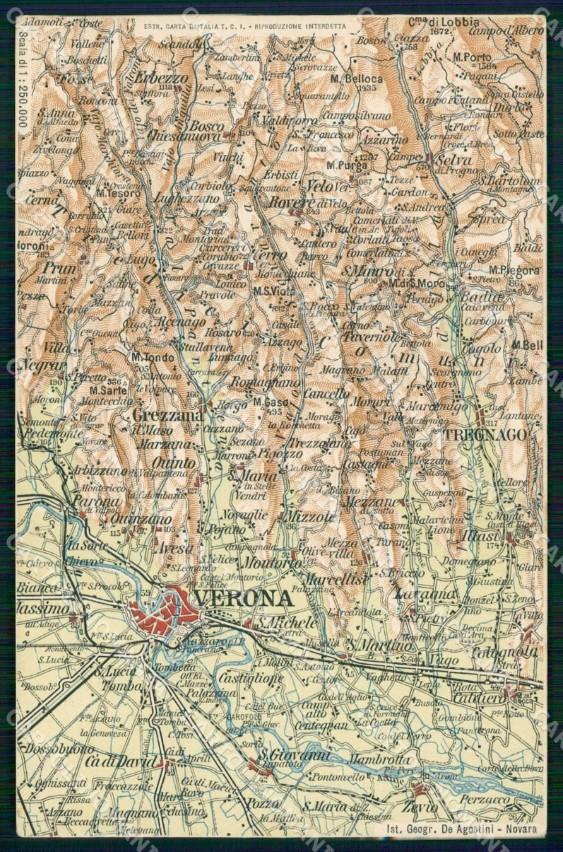 Verona Sulla Cartina Geografica.Verona Tregnago Cartina Geografica Mappa 69 Cartolina Rt2504 Ebay