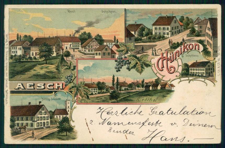 Svizzera Schweiz Basel Landschaft Aesch Gruss aus postcard